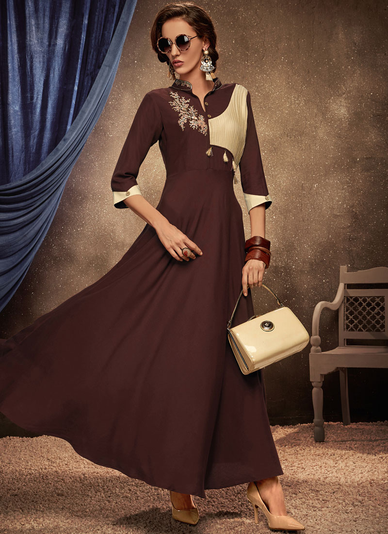 Rayon Brown Party Wear Kurti