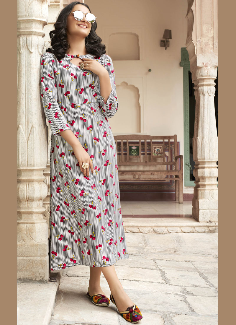 Rayon Off White and Pink Printed Casual Kurti