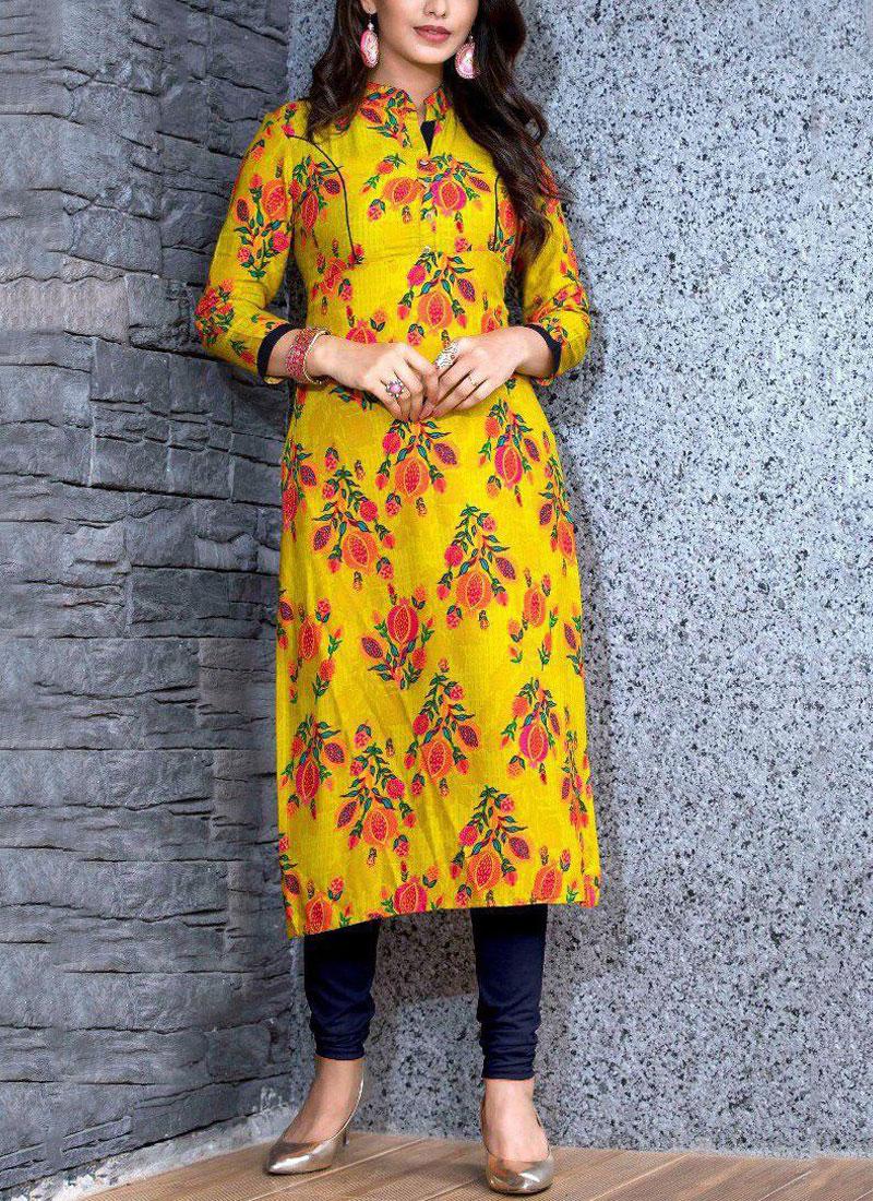 Rayon Party Wear Kurti in Multi Colour