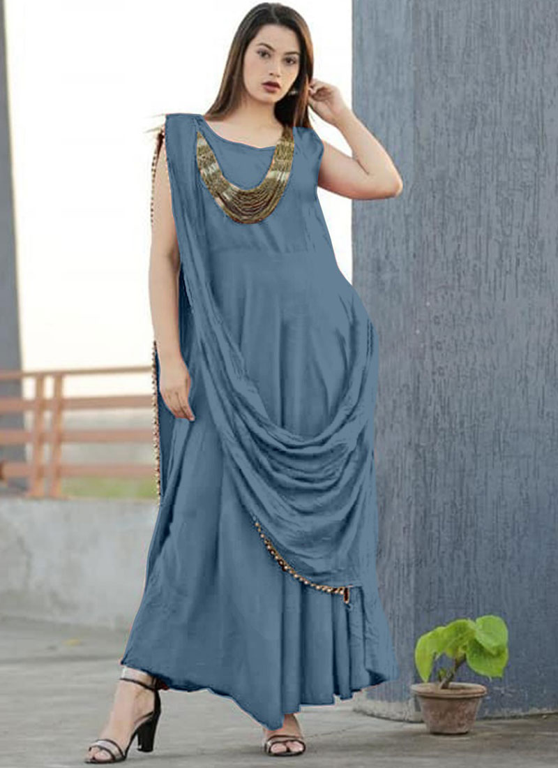 Rayon Plain Grey Trendy Gown