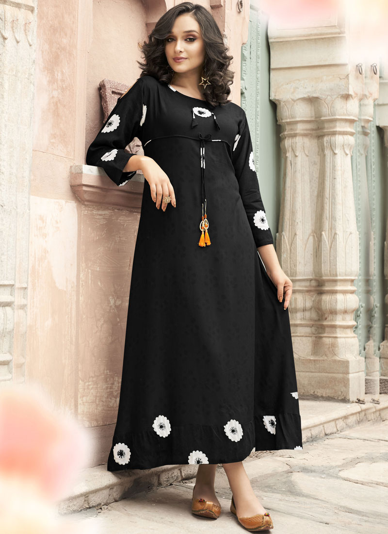 Rayon Printed Black Party Wear Kurti
