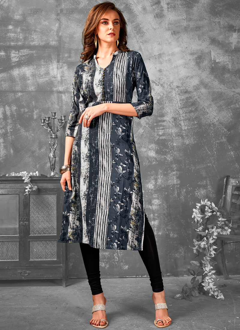 Rayon Printed Grey Party Wear Kurti