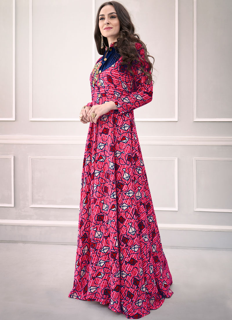 Rayon Printed Trendy Gown in Pink