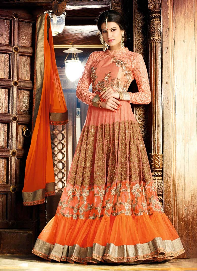 Reception Wear Beautiful Embroidery Work Gown In Orange