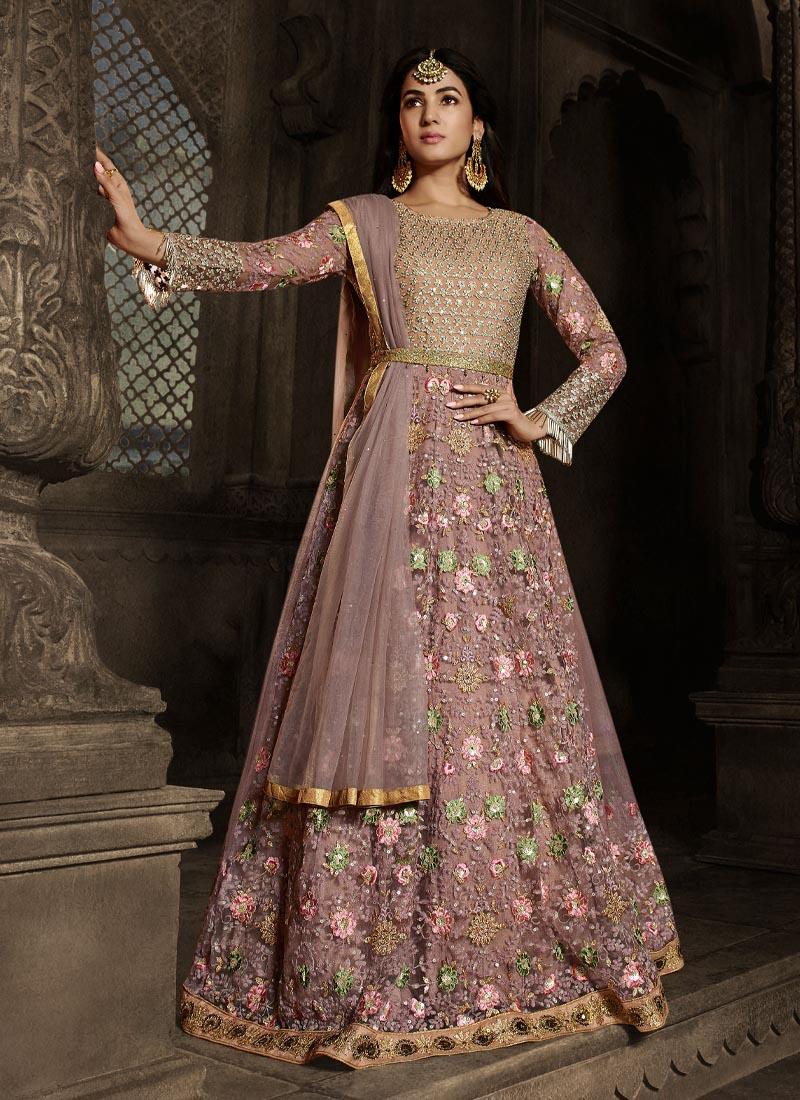 Reception Wear Dexterous Multi Thread Work On Net Gown In Salmon Pink