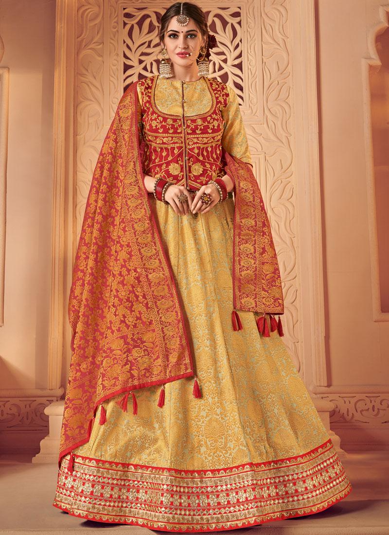 Red and Yellow Jacquard Wedding Lehenga Choli