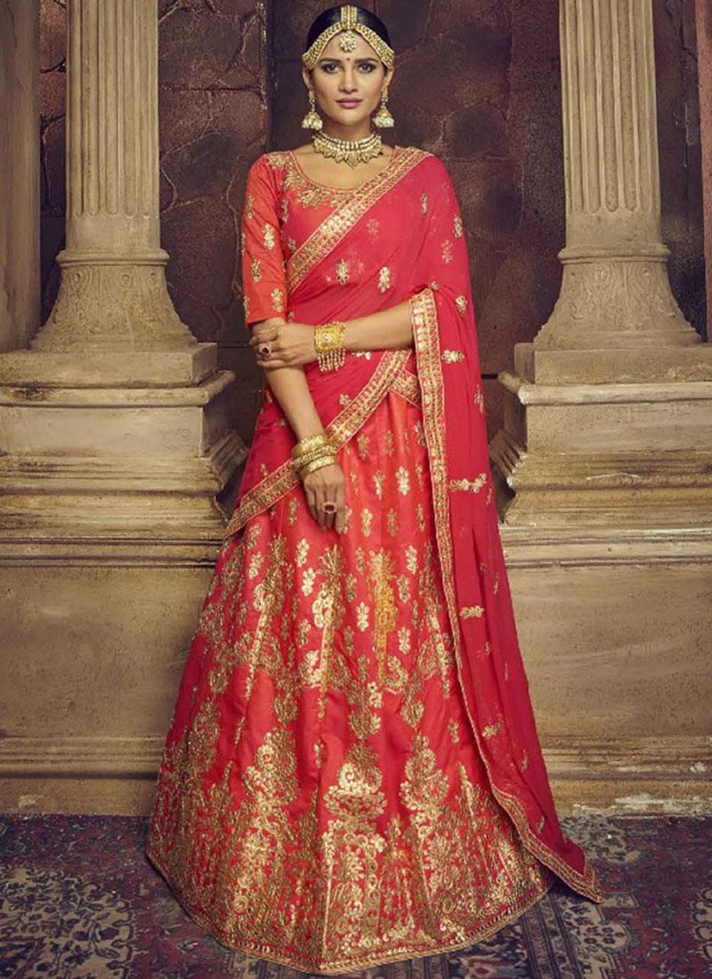 8e7179b704 Red Art Silk Bridal Lehenga Choli. Hover to zoom