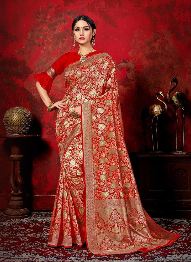 Red Banarasi Silk Festival Classic Saree