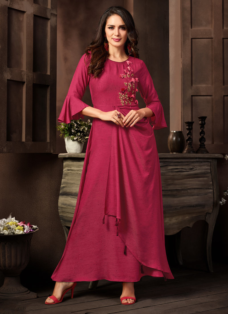 Red Embroidered Party Designer Kurti