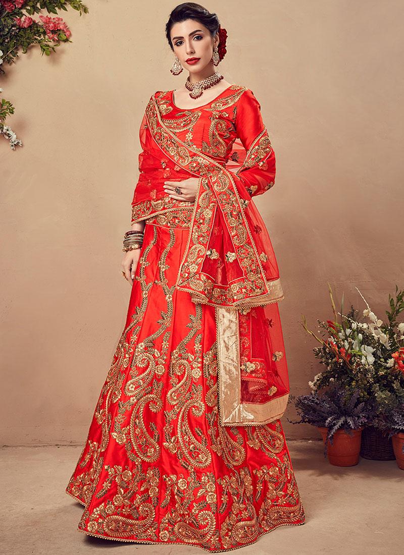 Red Embroidered Sangeet Designer Lehenga Choli