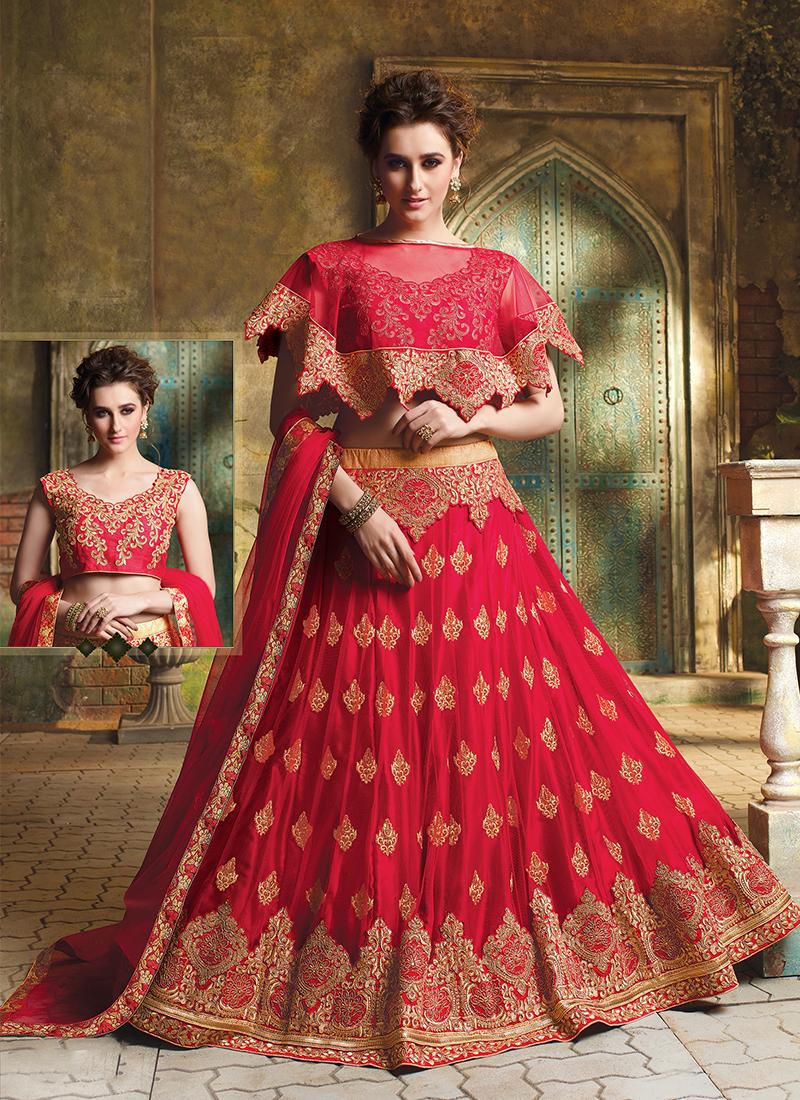 Red Mehndi Art Silk Designer Lehenga Choli
