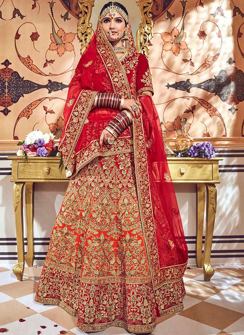 Red Resham Bridal Lehenga Choli