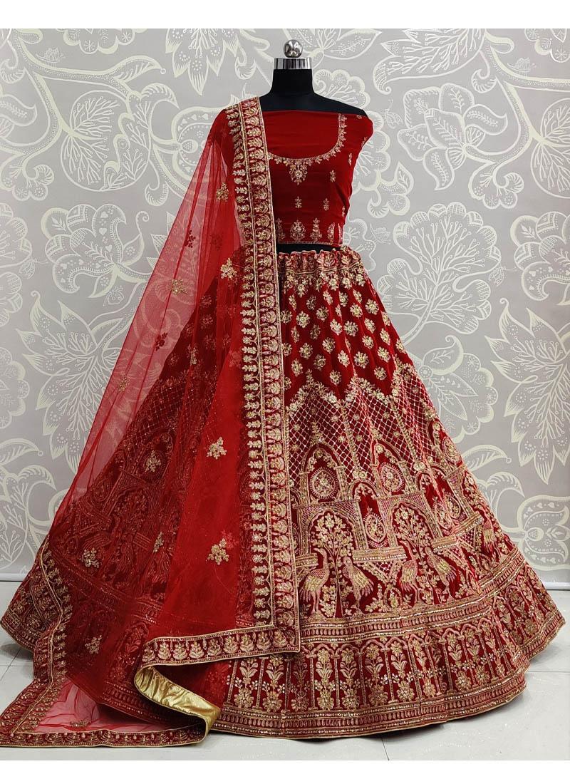 Red Velvet Embroidery Work Bridal Lehenga Choli with Dupatta