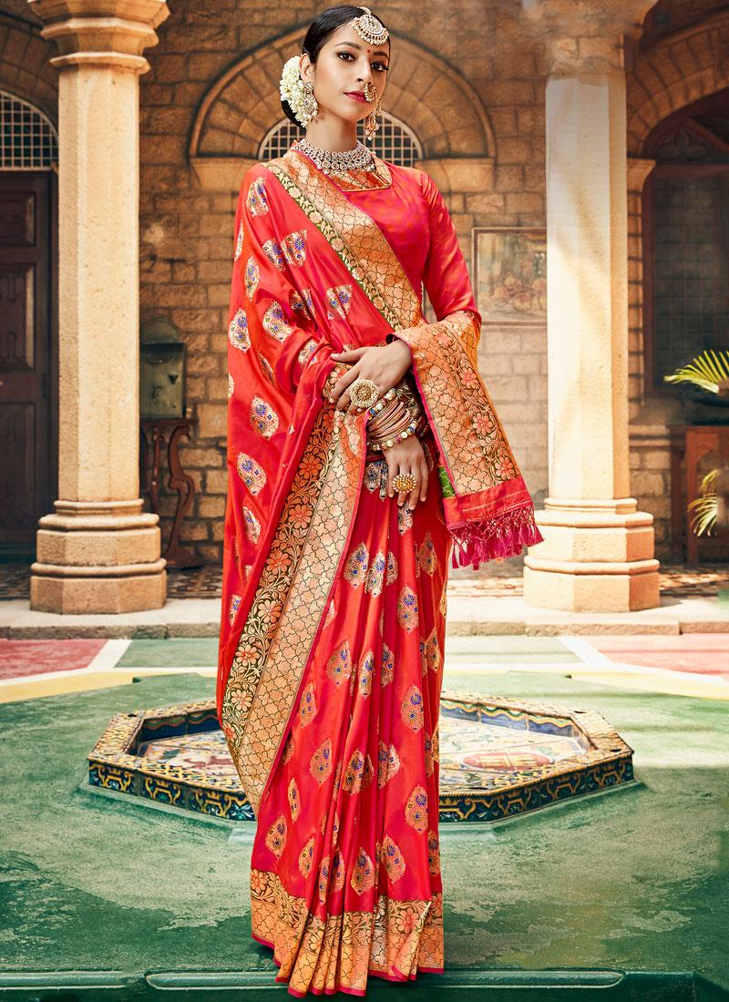 Beautifully crafted Red Banarasi saree with Blouse