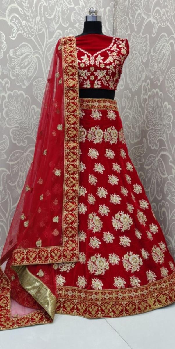 Red wedding designer velvet lehengacholi