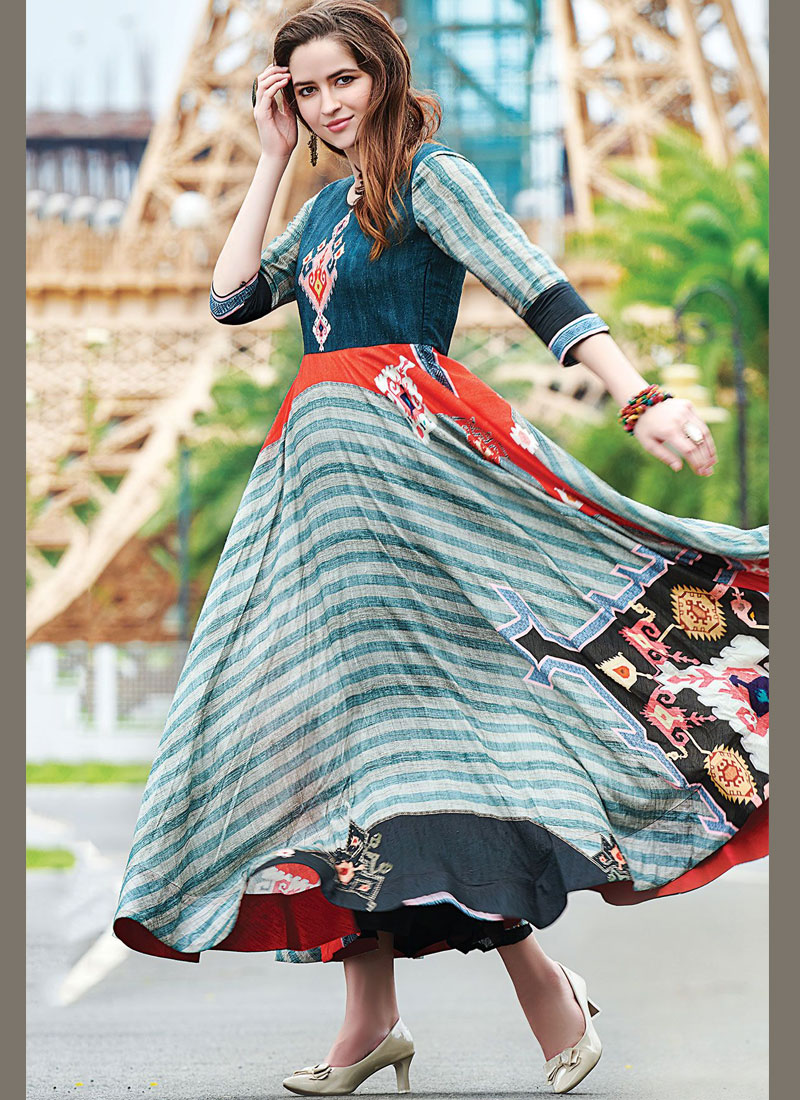 Refreshing Multi Colour Designer Gown