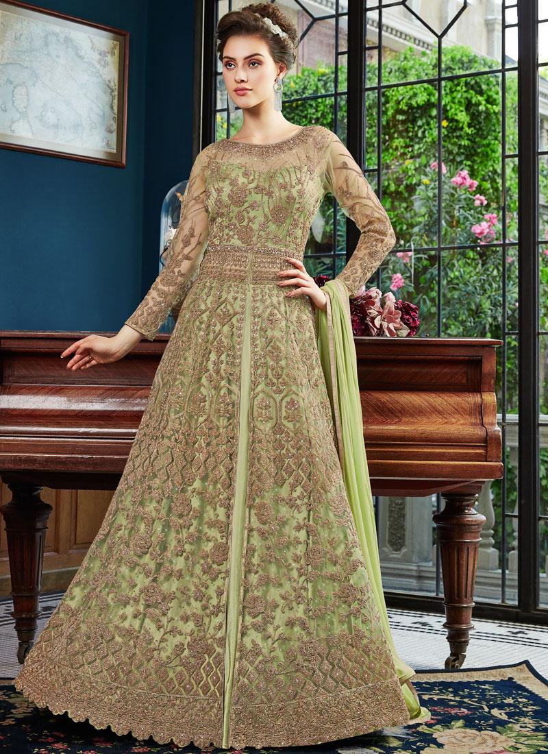 Refreshing Net Embroidered Green Designer Lehenga Choli