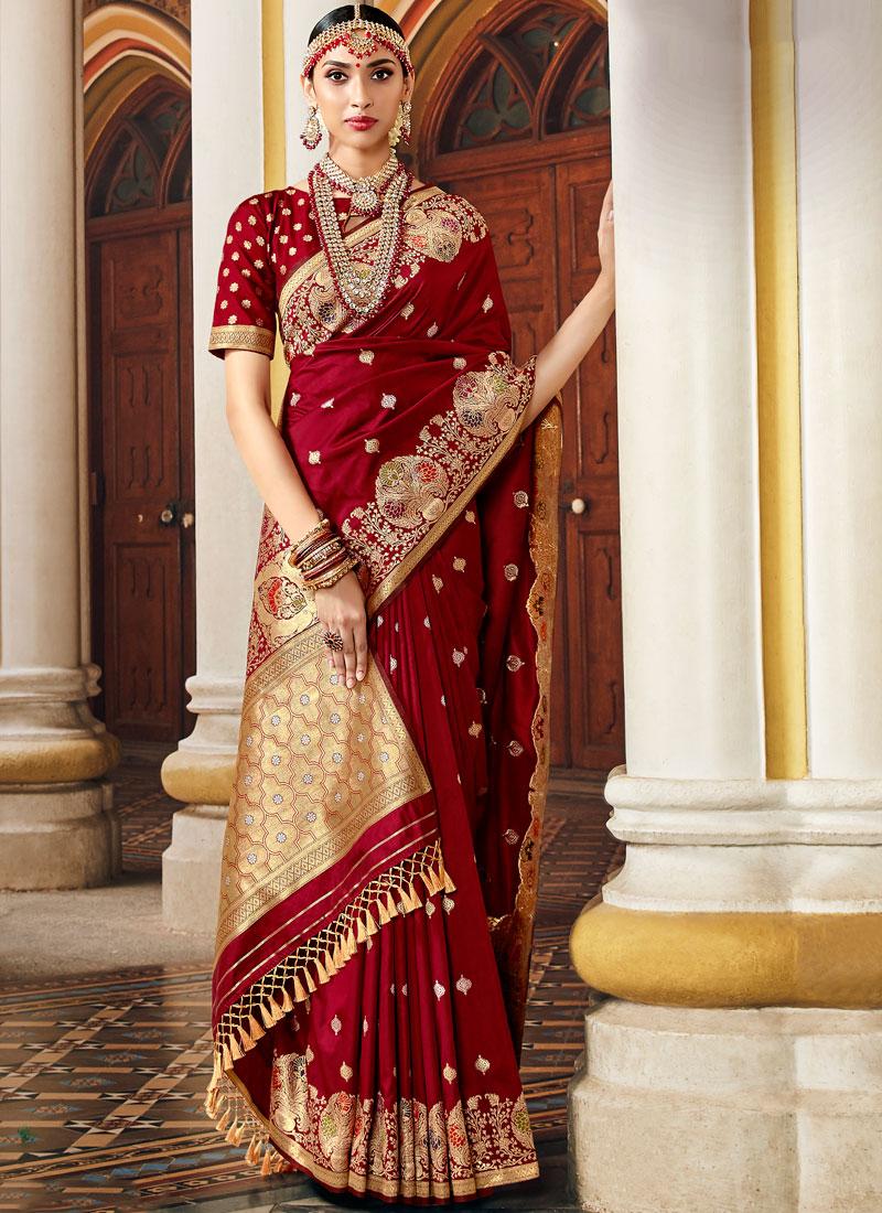 Regal Banarasi Silk maroon designer Saree