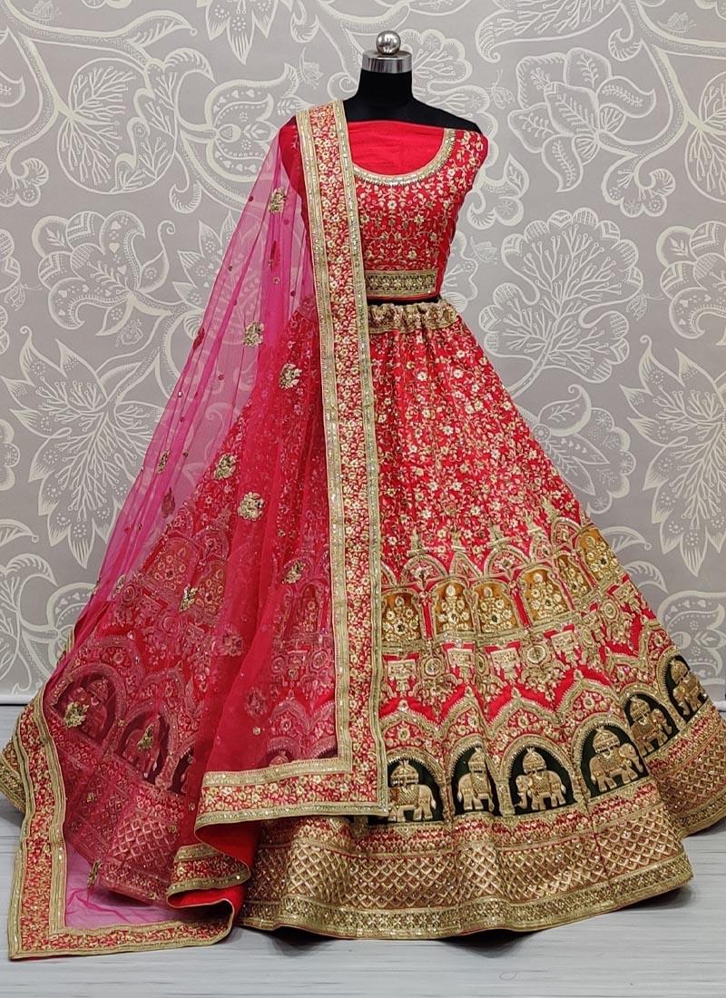 Remarkable Designer Work on Slub Silk Perfect Bridal Lehenga Choli in Pink