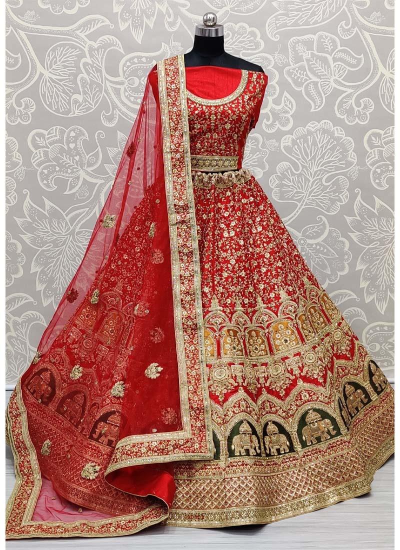 Remarkable Designer Work on Slub Silk Perfect Bridal Lehenga Choli in Red