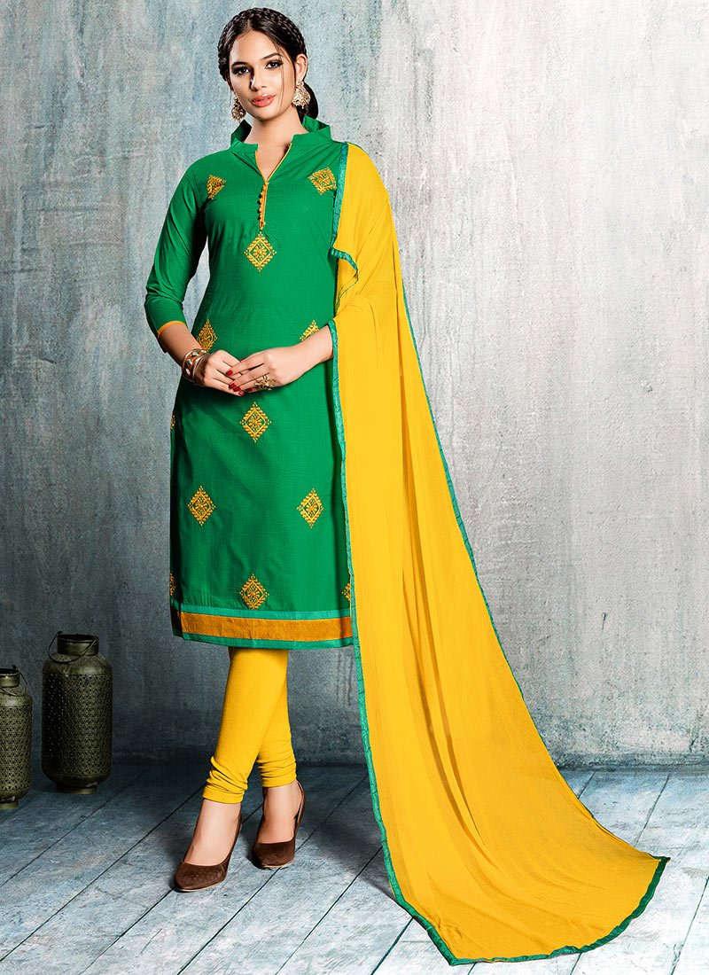 Remarkable Green Embroidered Churidar Suit