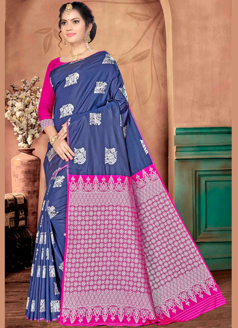 Renowned Navy Blue Banarasi Silk Traditional Saree