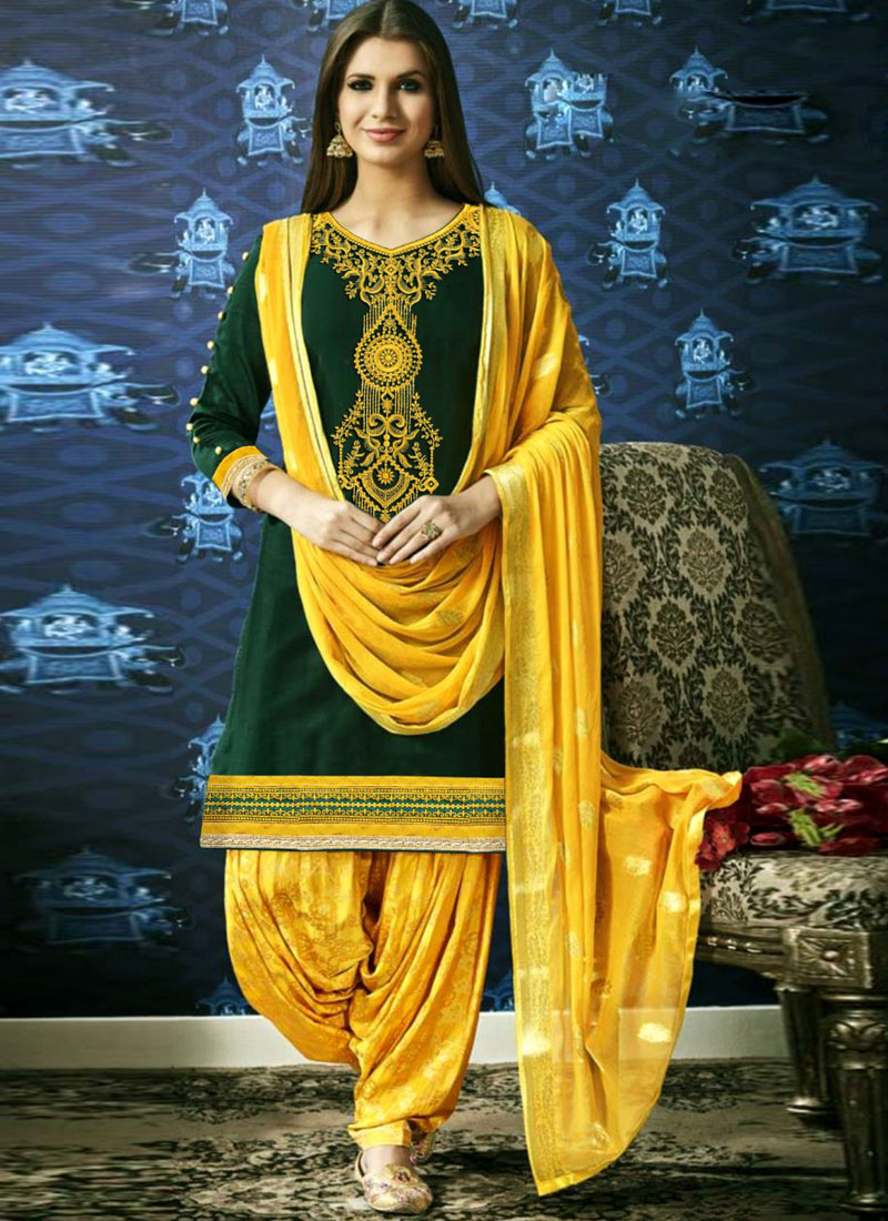 Resham Cotton Designer Patiala Suit in Green