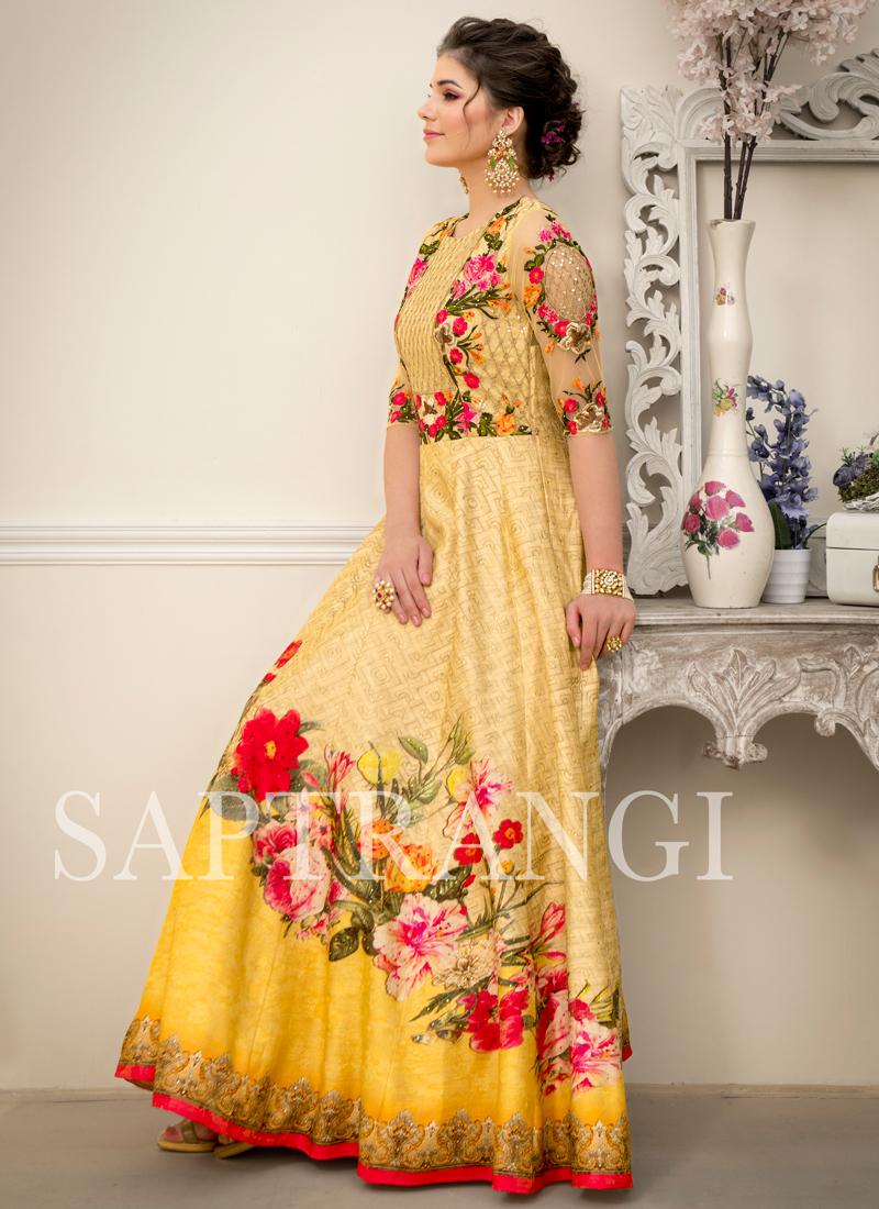 Resham Fancy Fabric Designer Gown in Multi Colour