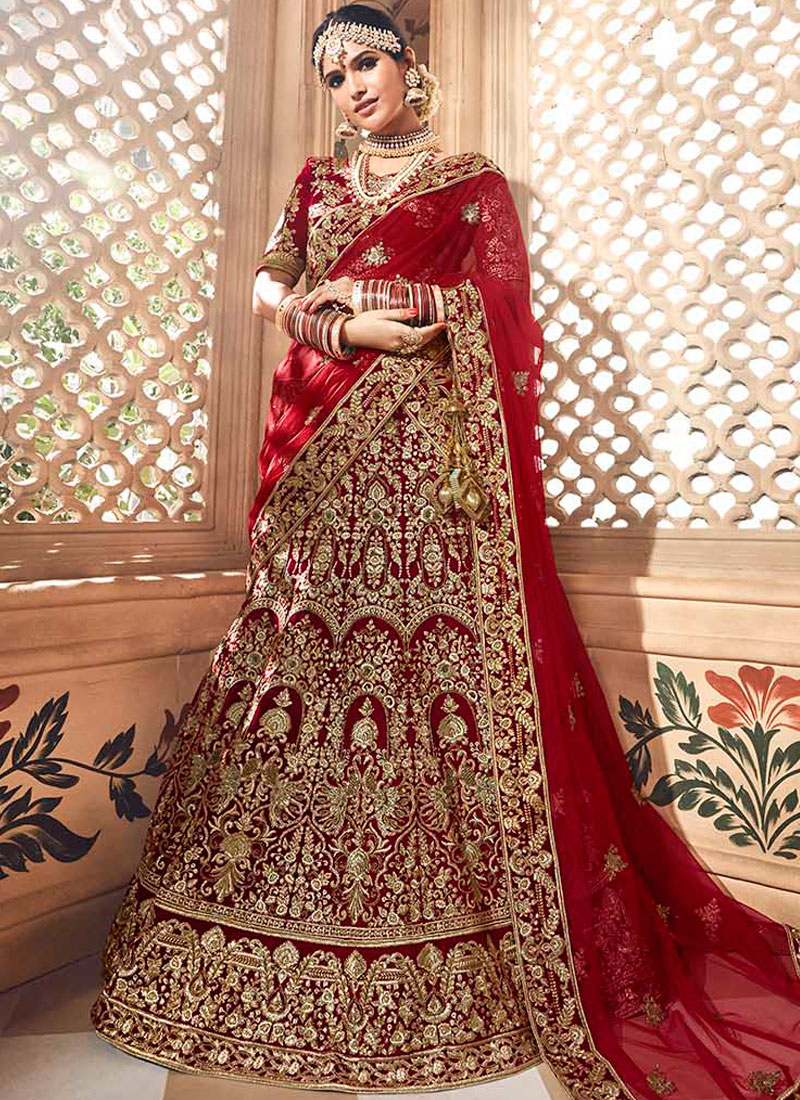Resham Fancy Fabric Lehenga Choli in Red