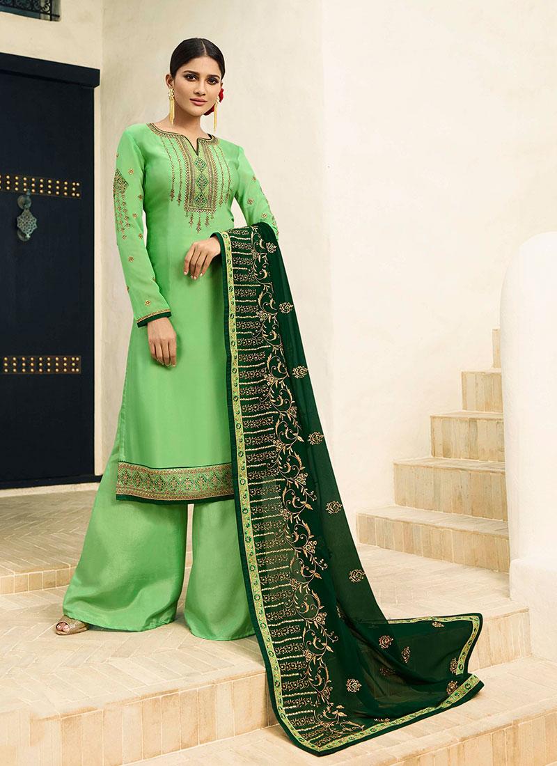 0d66467c35 Resham Georgette Satin Designer Pakistani Suit in Green. Hover to zoom