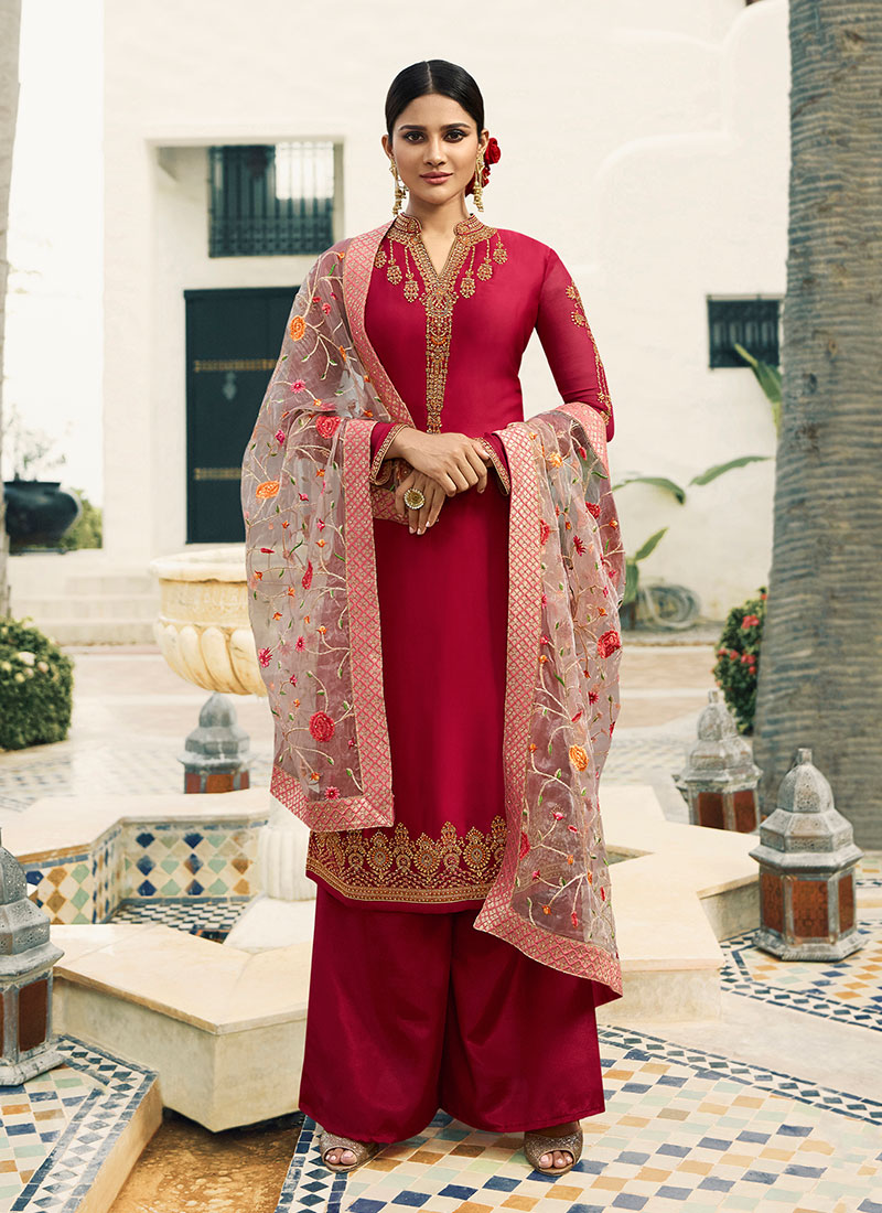 f628f6607e Resham Georgette Satin Designer Pakistani Suit in Hot Pink. Hover to zoom
