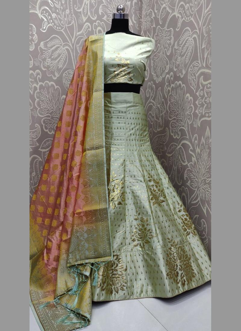 Resham satin silk work and foil lehengacholi