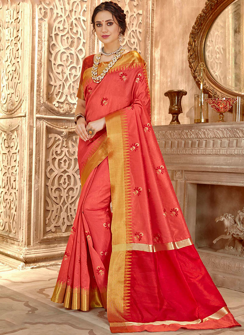 Rose Pink Ceremonial Cotton Silk Classic Saree