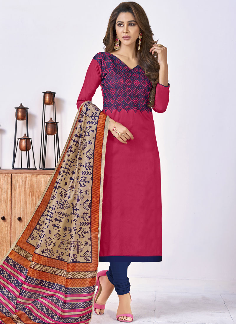 Rose Pink Festival Cotton Churidar Suit