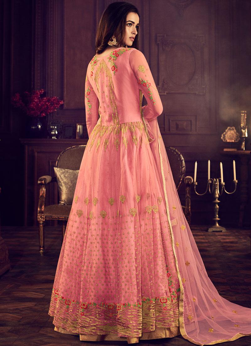 db0f6d60c6 Rose Pink Net Wedding Floor Length Anarkali Suit. Hover to zoom