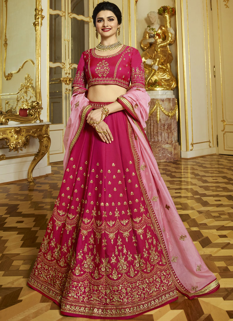 Rose Pink Stone Work Silk Designer Lehenga Choli