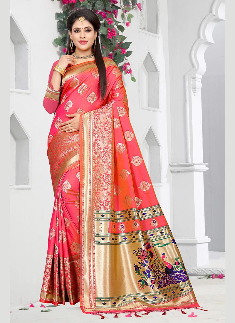Rose Pink Weaving Art Silk Traditional Designer Saree