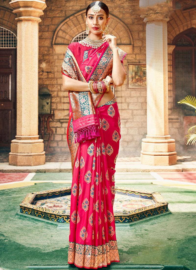 Rose Pink Wedding Banarasi Saree with Blouse