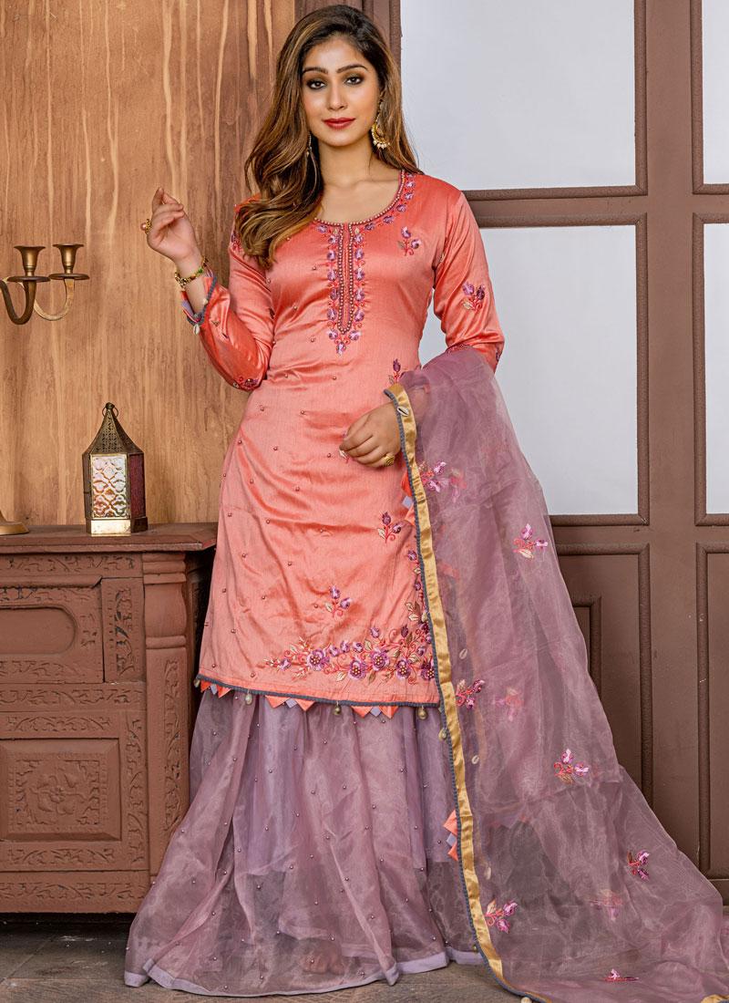 Royal Embroidered Peach Satin Designer Salwar Kameez