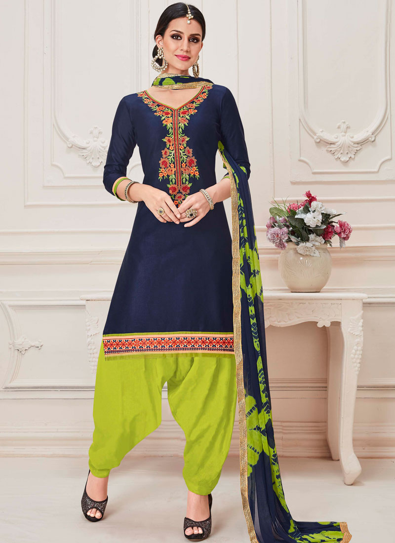 62247407ae Ruritanian Embroidered Cotton Designer Patiala Suit. Hover to zoom