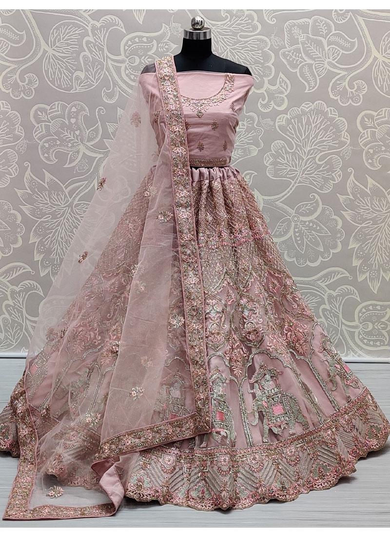 Salmon Pink Pleasent Very well embroidered full of Zarkan diamond on Net wedding Lehenga choli