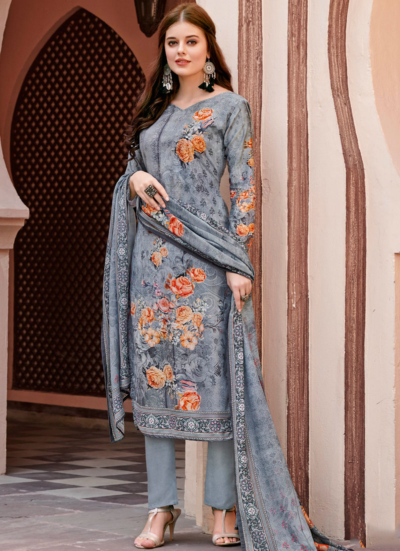 fc1c48119 Satin Abstract Print Grey Pant Style Suit