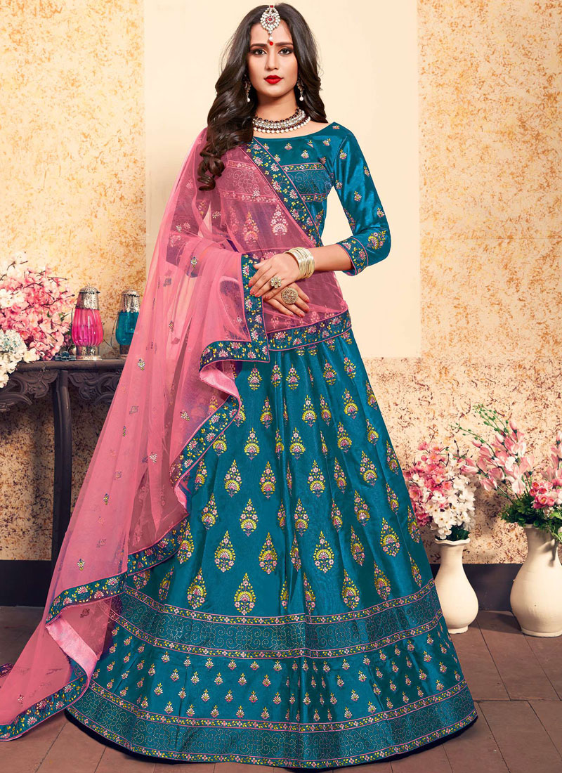 Satin Blue Trendy Lehenga Choli