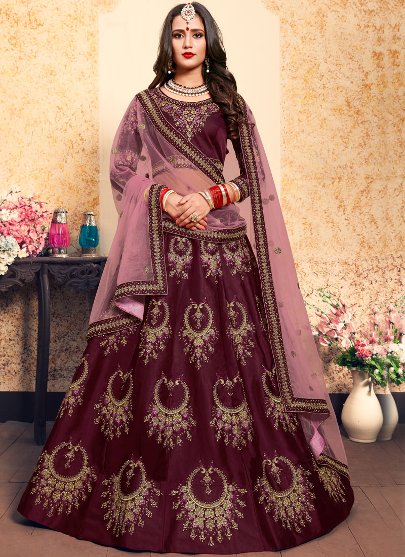 Satin Brown Zari Trendy Lehenga Choli