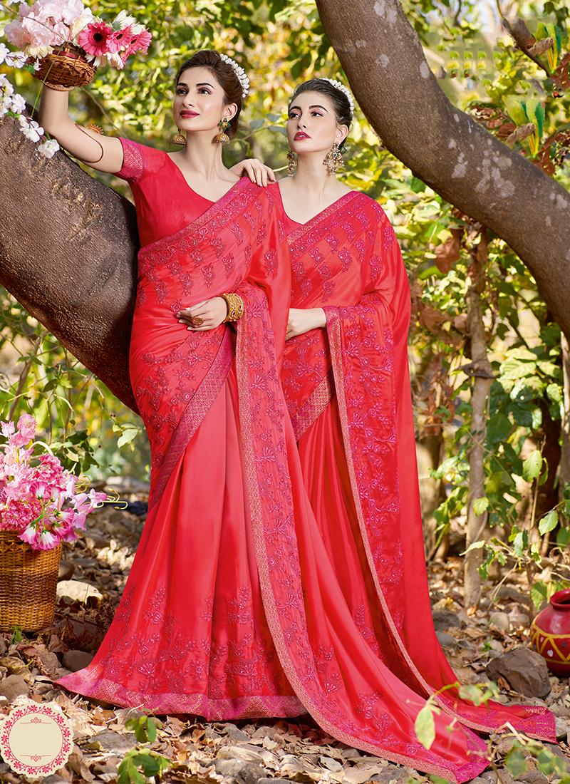 Satin Hot Pink Patch Border Classic Saree