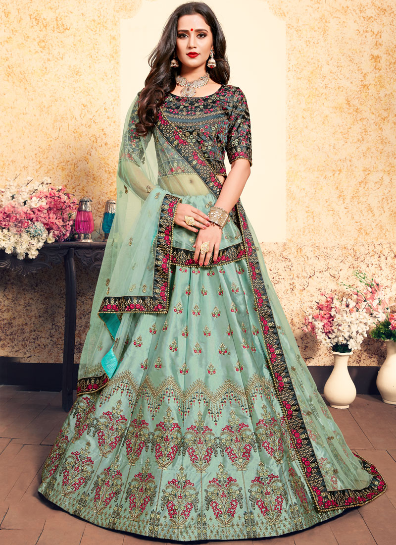 Satin Sea Green Designer Lehenga Choli