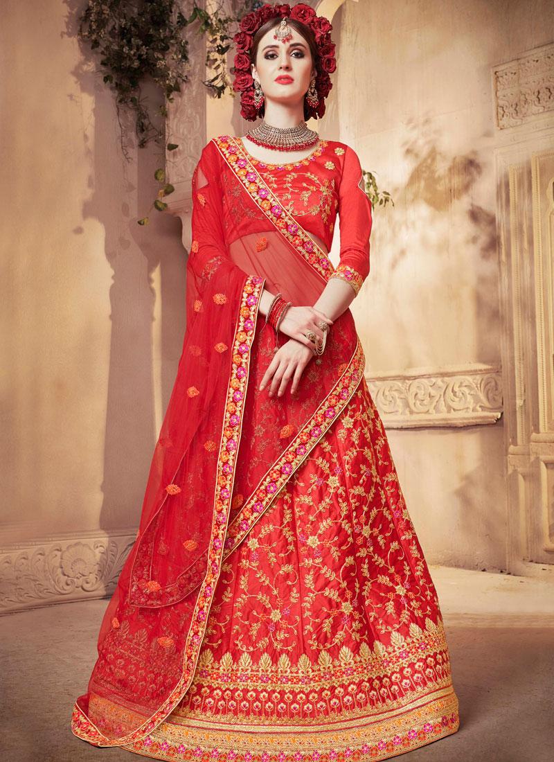 8faf9029d6 Satin Silk Diamond Designer Lehenga Choli in Red. Hover to zoom