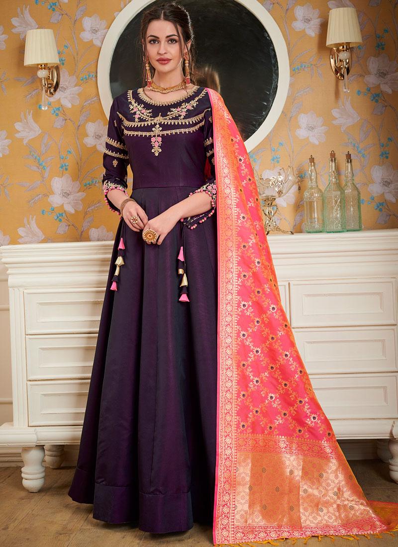 Satin Silk Readymade Gown  in Purple