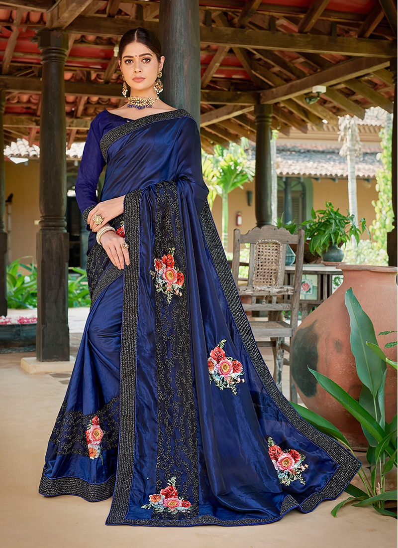 Satin Silk Trendy Saree in Blue