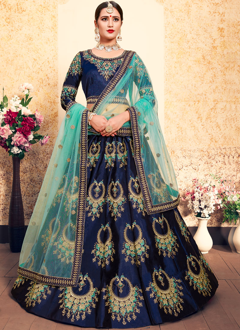 Satin Thread Trendy Lehenga Choli in Blue